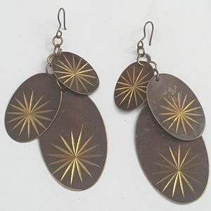 Vintage Atomic Star Tri Oval Dangly Earrings